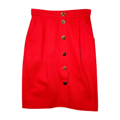 Jupe en jean CÉLINE Rouge, bordeaux