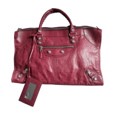 Leather Oversize Bag BALENCIAGA Work Framboise