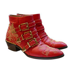 Cowboy Ankle Boots CHLOÉ Susanna Red, burgundy