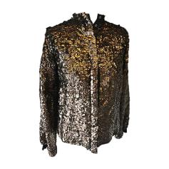 Leather Jacket ROBERTO CAVALLI Golden, bronze, copper