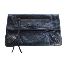 Leather Clutch BALENCIAGA Envelope Black