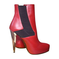 High Heel Boots FENDI Red, burgundy