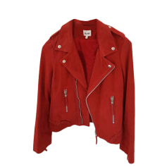 Leather Zipped Jacket BEL AIR Red, burgundy