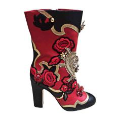 Bottines & low boots à talons DOLCE & GABBANA rouge/noir/doré