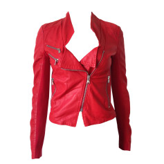Leather Zipped Jacket PINKO Red, burgundy