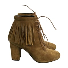 High Heel Ankle Boots SAINT LAURENT Beige, camel