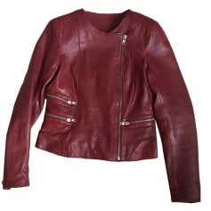 Leather Jacket MAJE Red, burgundy