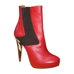 High Heel Ankle Boots FENDI Red, burgundy