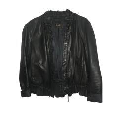Leather Zipped Jacket MAJE Black
