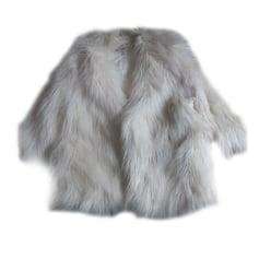 Fur Sleeveless Vest H&M White, off-white, ecru