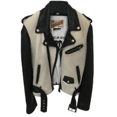 Leather Zipped Jacket AMERICAN RETRO Black