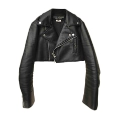 Leather Zipped Jacket COMME DES GARCONS Black