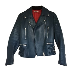 Leather Jacket CÉLINE Blue, navy, turquoise