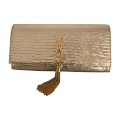Sac pochette en cuir SAINT LAURENT Doré, bronze, cuivre