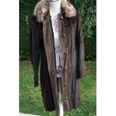 Manteau noir laine capuche fourrure