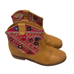 Flat Ankle Boots ANTIK BATIK Beige, camel