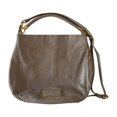 Leather Handbag Gray, charcoal