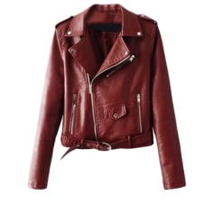 Leather Zipped Jacket ZARA Red, burgundy