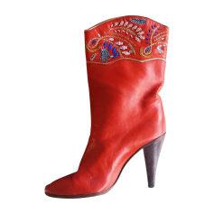 Bottines & low boots à talons CASADEI Rouge, bordeaux