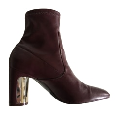 High Heel Ankle Boots ZARA Red, burgundy