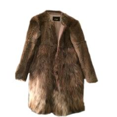 Fur Coat MAJE Beige, camel