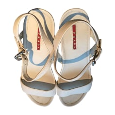 Sandales compensées PRADA Blanc, blanc cassé, écru