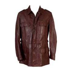 Leather Zipped Jacket SALVATORE FERRAGAMO Brown