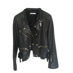 Leather Zipped Jacket SANDRO Black
