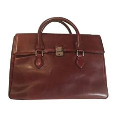 Briefcase, folder BERLUTI Red, burgundy