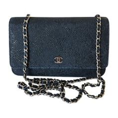 Sac à main en cuir CHANEL Wallet-On-Chain Bleu, bleu marine, bleu turquoise