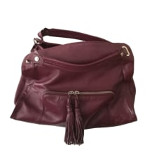 Leather Handbag SANDRO Red, burgundy