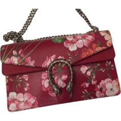 Leather Shoulder Bag GUCCI Dionysus Red, burgundy