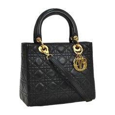 Leather Handbag DIOR LADY DIOR Black