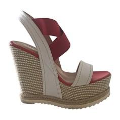 Sandales compensées BALDININI Rouge, bordeaux