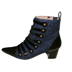 High Heel Ankle Boots TARA JARMON noire et pailletée bleue marine
