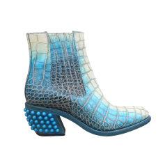 Santiags, bottines, low boots cowboy FREE LANCE Bleu, bleu marine, bleu turquoise