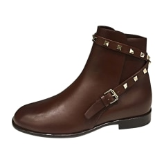 Bottines & low boots plates VALENTINO Rouge, bordeaux