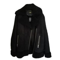 Manteau en cuir MAJE Noir