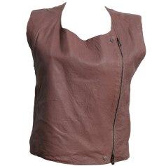 Leather Zipped Jacket DIESEL Pink, fuchsia, light pink