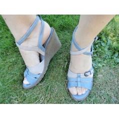 Sandales compensées KICKERS Bleu, bleu marine, bleu turquoise