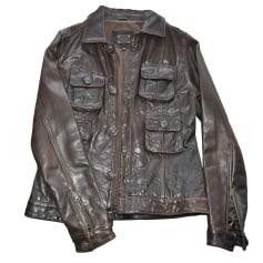 Leather Zipped Jacket LE TEMPS DES CERISES Brown