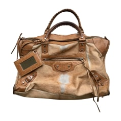 Leather Oversize Bag BALENCIAGA Beige, camel