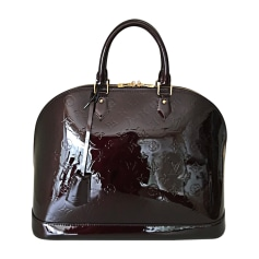 Leather Handbag LOUIS VUITTON Alma Red, burgundy