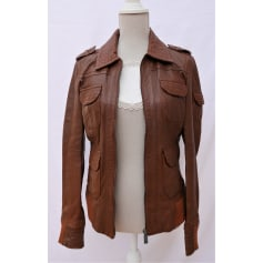 Leather Zipped Jacket EDC BY ESPRIT Brown