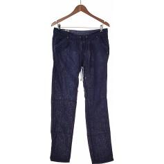 Pantalon droit BERSHKA Bleu, bleu marine, bleu turquoise