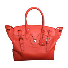 Leather Handbag RALPH LAUREN Red, burgundy