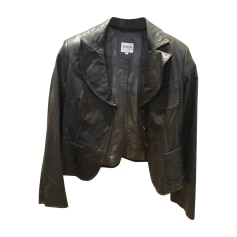 Leather Jacket ARMANI COLLEZIONI Brown