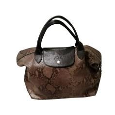 Leather Handbag LONGCHAMP Khaki