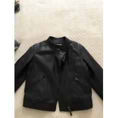Leather Zipped Jacket BONPOINT Black