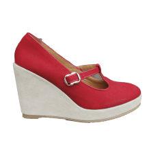 Sandales compensées A.P.C. Rouge, bordeaux